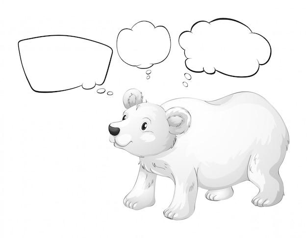 Un ours blanc avec des légendes vides Vecteur Premium