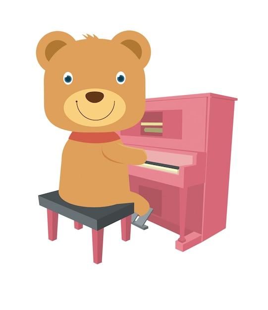 Ours brun mignon jouant du piano Vecteur Premium