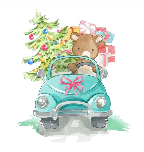 Ours cartoon conduisant une voiture avec des boîtes à cadeaux Vecteur Premium