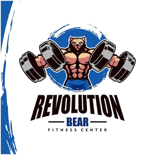 Ours Avec Un Corps Solide, Un Club De Fitness Ou Un Logo De Gym. Vecteur Premium
