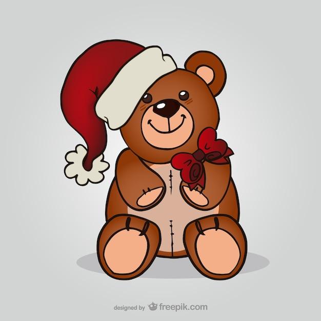 Ours en peluche avec chapeau de p re no l t l charger des vecteurs gratuitement - Dessin ours en peluche ...