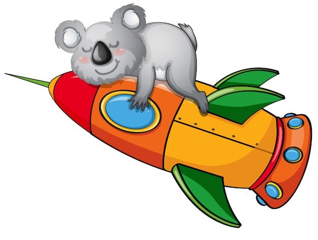 Ours sur une fusée Vecteur gratuit