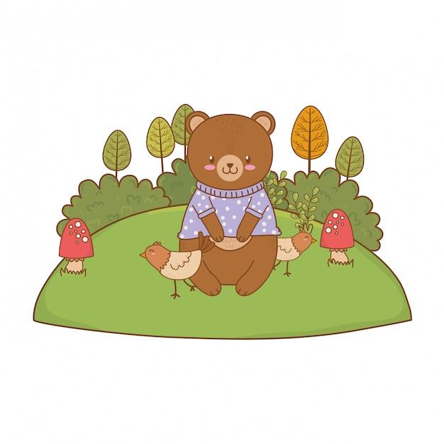 Ours mignon dans le personnage de terrain boisé Vecteur Premium
