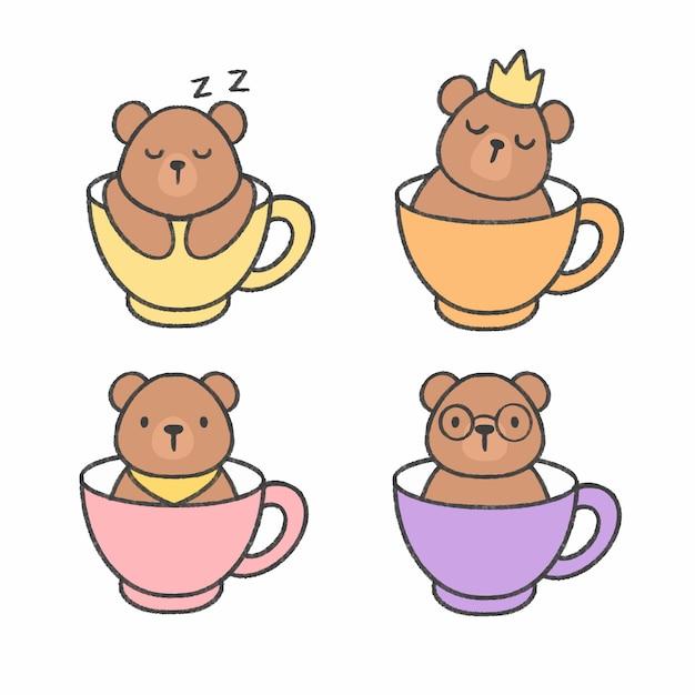 Ours mignon dans une tasse de thé collection de bandes dessinées à la main Vecteur Premium