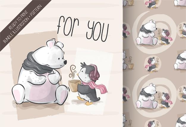 Ours Mignon Avec Illustration De Pingouin Avec Motif Transparent Vecteur Premium