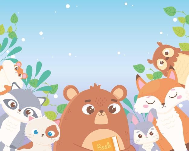Ours Mignon Lapin Renard Hibou Chat Raton Laveur Et Hamster Feuilles Feuillage Animaux De Dessin Animé Vecteur Premium