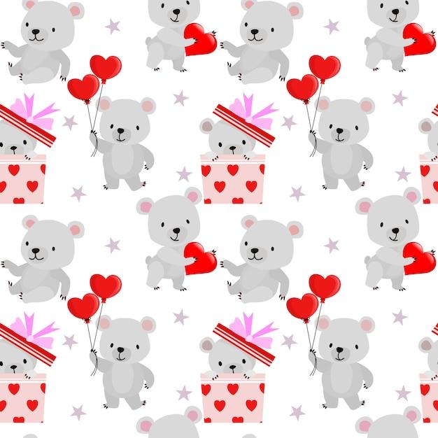 Ours mignon avec motif sans soudure de valentine forme coeur rouge. Vecteur Premium