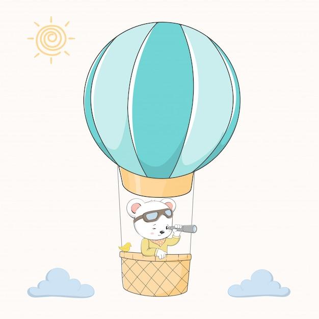 Ours Mignon Prendre Un Vecteur Dessiné De Ballon Dessin Animé à La Main Vecteur Premium