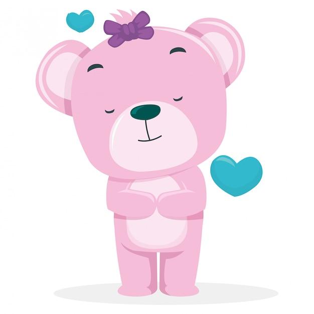 Des ours mignons espèrent devenir partenaire le jour de la saint-valentin Vecteur Premium