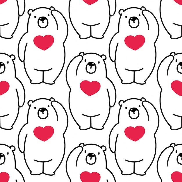 Ours Modèle Sans Couture Vecteur Polaire Coeur Valentine Vecteur Premium