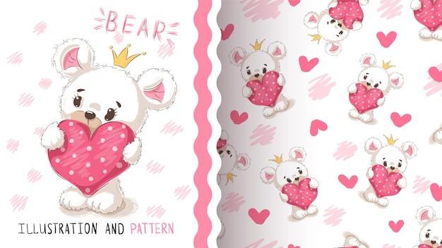 Ours avec motif sans soudure de coeur Vecteur Premium