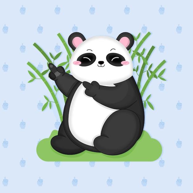 Ours Panda Mignon Montrant Le Symbole De La Baise Vecteur gratuit