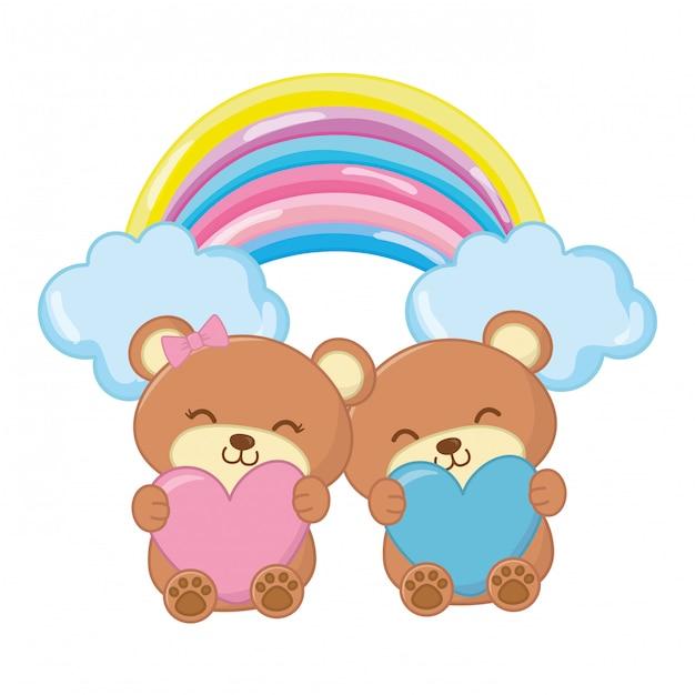 Ours en peluche avec coeur et arc-en-ciel Vecteur Premium