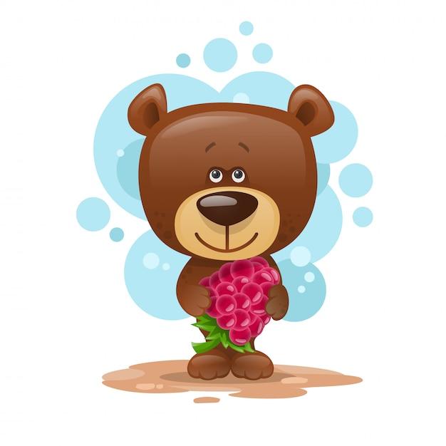 Ours en peluche avec framboises. illustration enfantine. Vecteur Premium