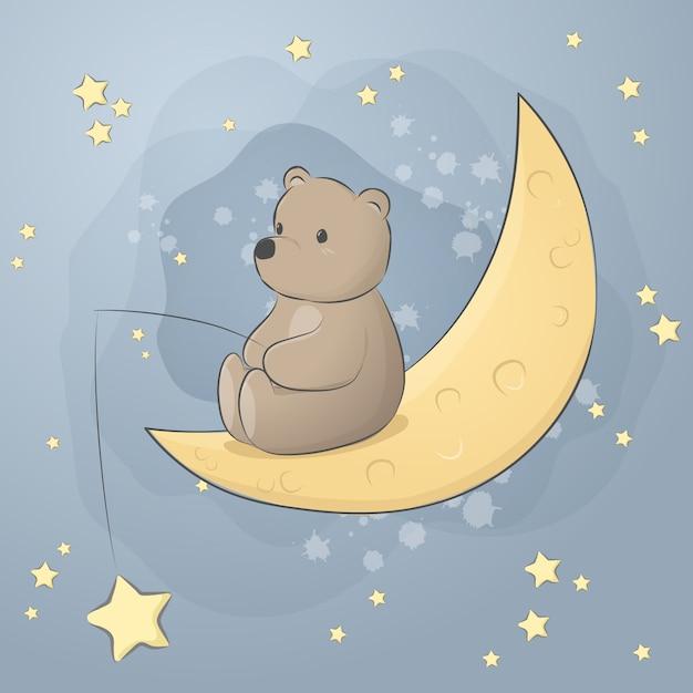 Ours en peluche mignon assis sur la bande dessinée de la lune doodle pastel wallpaper Vecteur Premium
