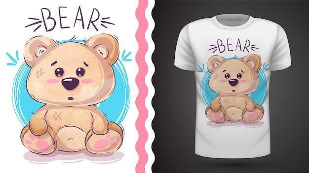 Ours en peluche mignon - idée d'imprimer un t-shirt Vecteur Premium