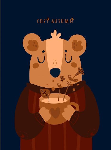 Ours en peluche mignon avec une tasse de tisane. automne confortable Vecteur Premium