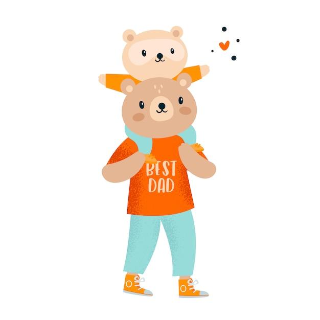 Ours en peluche mignons. père et enfant. meilleur papa jamais Vecteur Premium