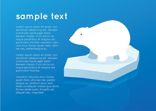 Ours polaire blanc sur l'océan iceberg Vecteur Premium
