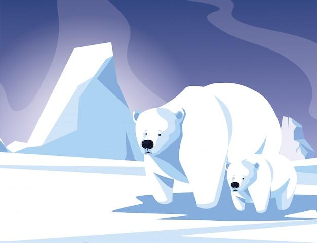 Ours Polaire Avec Cub Au Paysage D'hiver, Mère Et Enfant Vecteur Premium