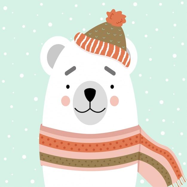 Ours polaire mignon dans une écharpe et un bonnet Vecteur Premium