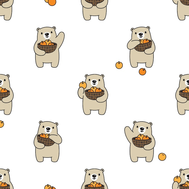 Ours Polaire Modèle Sans Couture Corbeille De Fruits Orange Teddy Cartoon Vecteur Premium