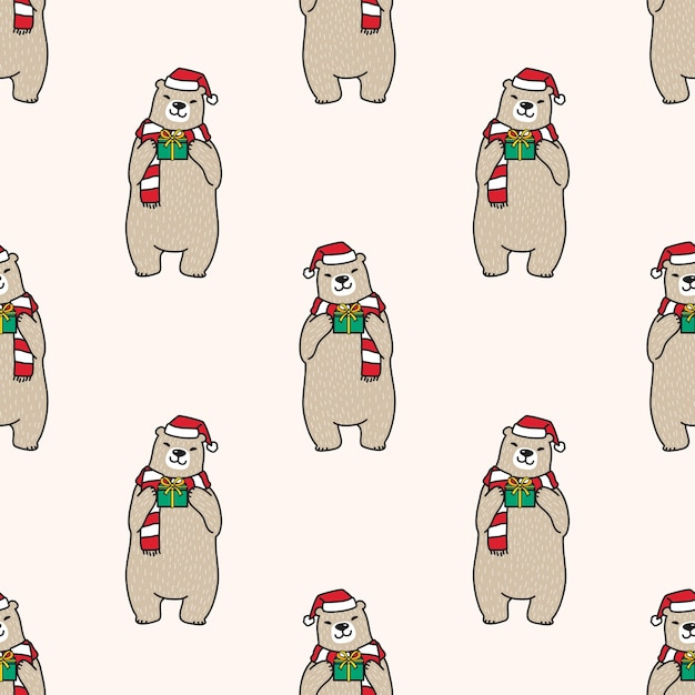 Ours Polaire Modèle Sans Couture Noël Père Noël Illustration Vecteur Premium