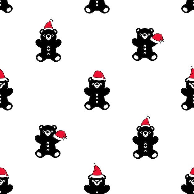 Ours Polaire Modèle Sans Couture Noël Santa Claus Hat Teddy Vecteur Premium