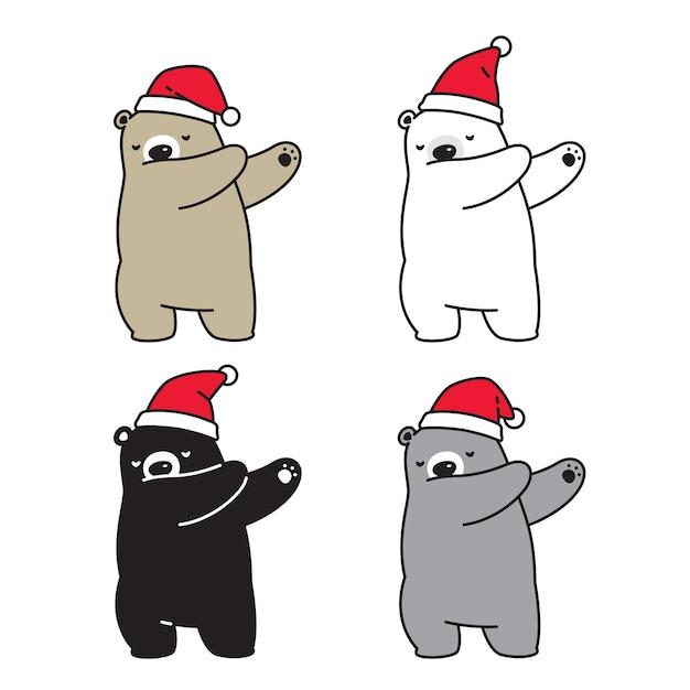 Ours Polaire Noël Chapeau De Père Noël Dab Danse Personnage Cartoon Vecteur Premium