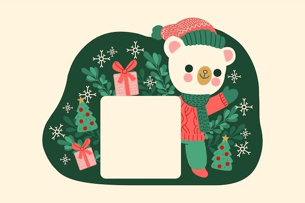 Ours Polaire De Noël Tenant Une Bannière Vierge Vecteur gratuit