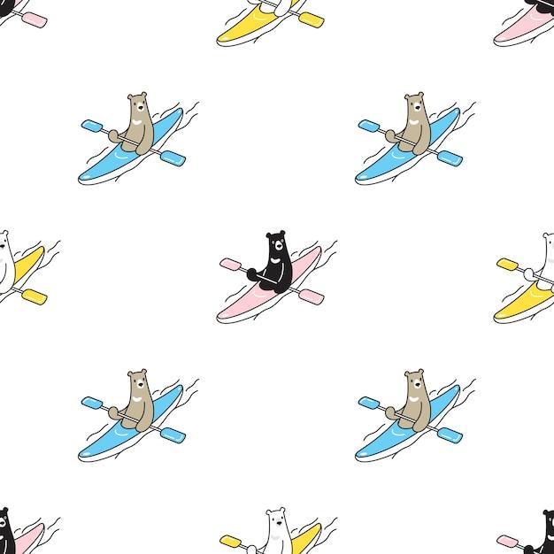 Ours Polaire Transparente Motif Kayak Illustration De Dessin Animé Vecteur Premium