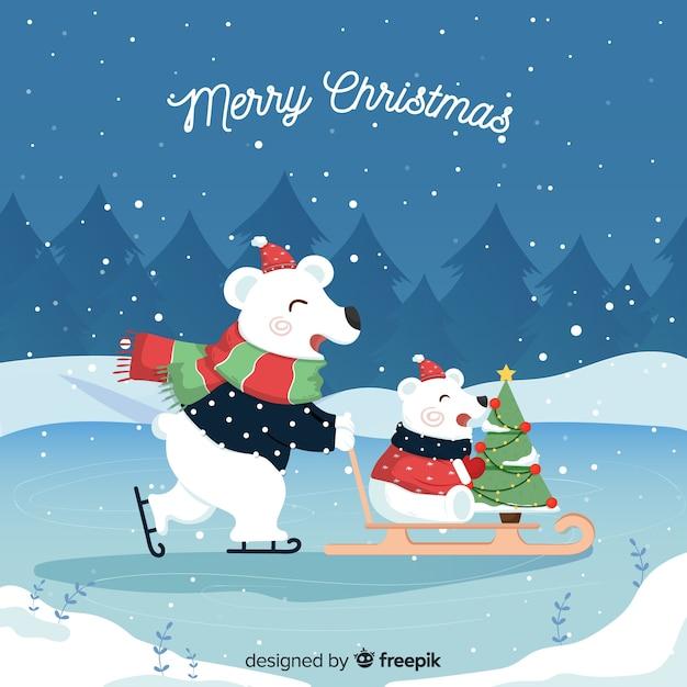 Ours polaires sur un traîneau Vecteur gratuit