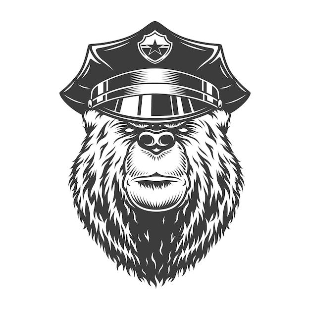 Ours Sérieux Monochrome En Casquette De Police Vecteur gratuit