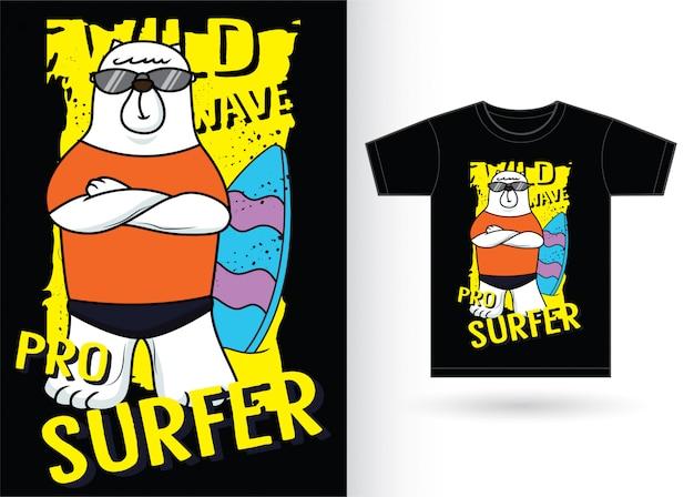 Ours surfeur cartoon pour t-shirt Vecteur Premium