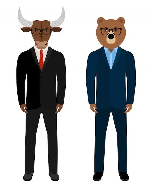 Ours et taureau commerçants d'hommes d'affaires. ours homme et taureau homme en costume isolé Vecteur Premium