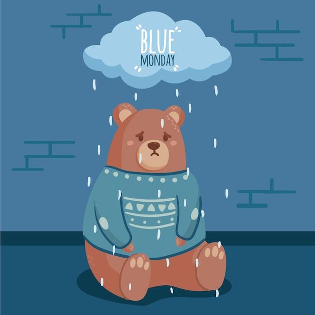 Ours Triste Illustré Le Lundi Bleu Vecteur gratuit