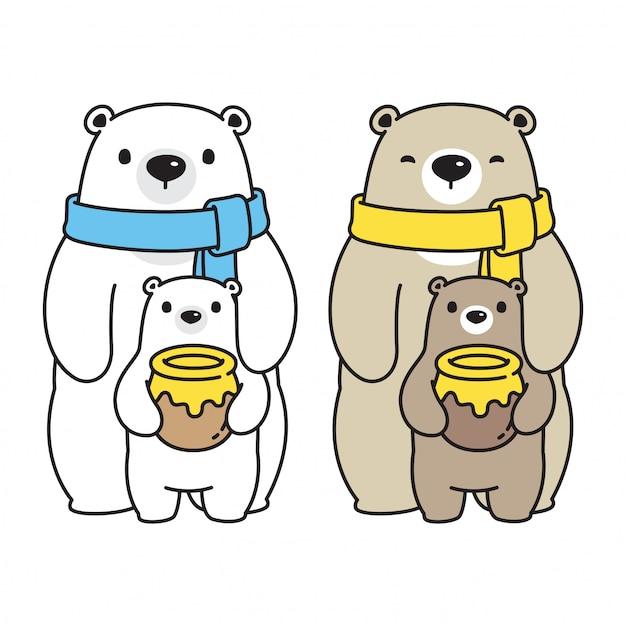 Ours vecteur personnage de dessin animé famille polar bear miel Vecteur Premium