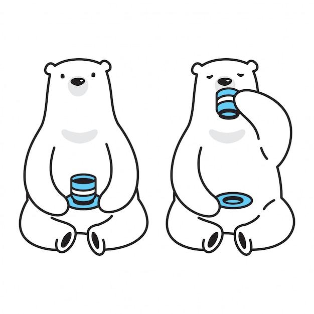 Ours Vecteur Thé De Dessin Animé Café Polar Bear Vecteur Premium
