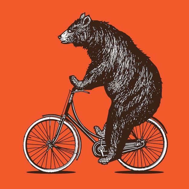 Ours à Vélo Vecteur Premium