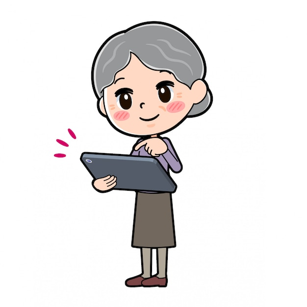 Out line violet usure grand-mère tablette tactile Vecteur Premium