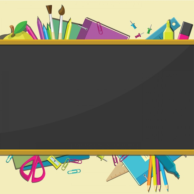Outils de bureau d'école vector background. Vecteur Premium