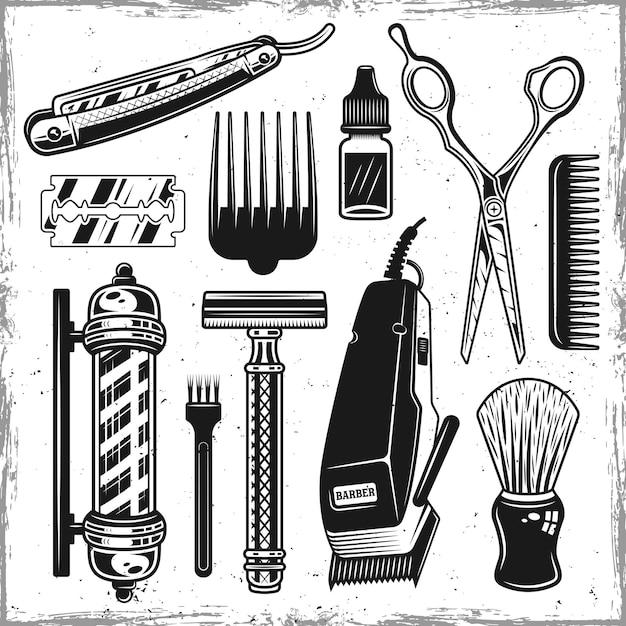 Outils De Coiffeurs Et Ensemble De Salon De Coiffure D'objets Noirs Ou D'éléments De Conception Vecteur Premium