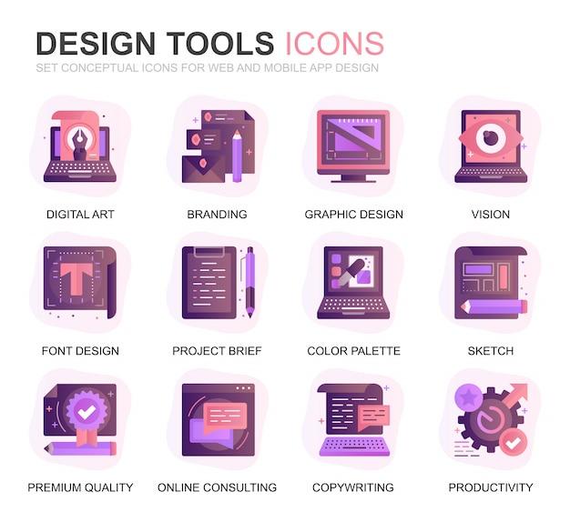Outils de conception de jeu modernes gradient flat icons Vecteur Premium