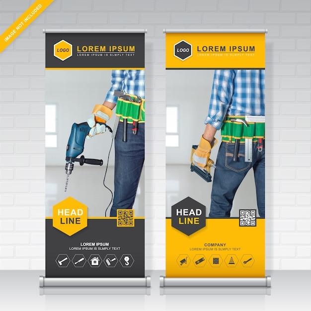 Les outils de construction retroussent et modèle de conception standee Vecteur Premium