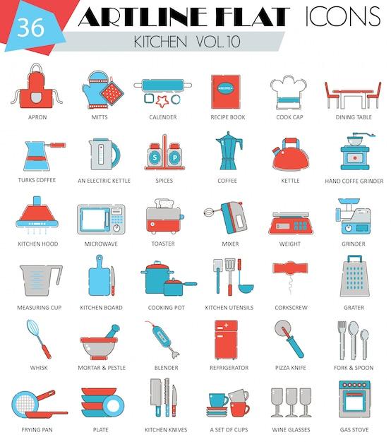 Outils de cuisine ligne plate icônes définies Vecteur Premium