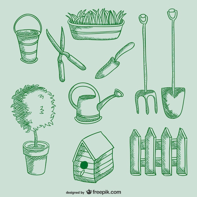 Outils de jardinage dessins t l charger des vecteurs for Dessin outils jardinage