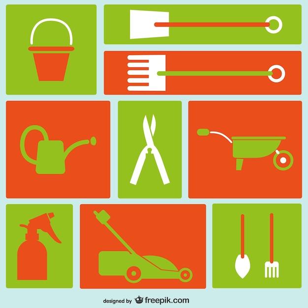 Outils de jardinage icônes  Télécharger des Vecteurs ...