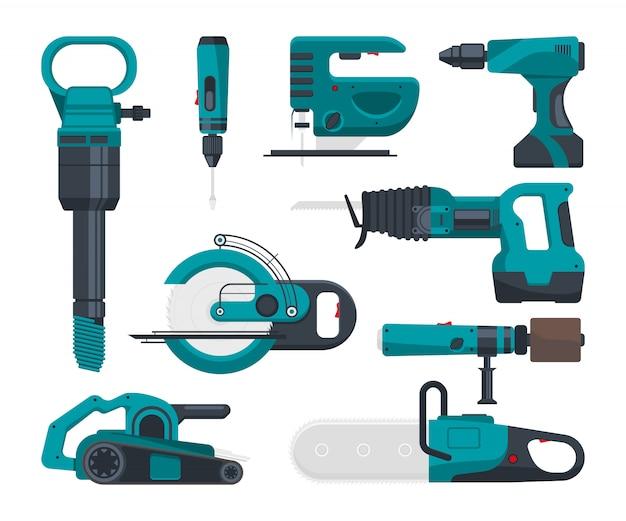 Outils électro de construction pour réparation. Vecteur Premium
