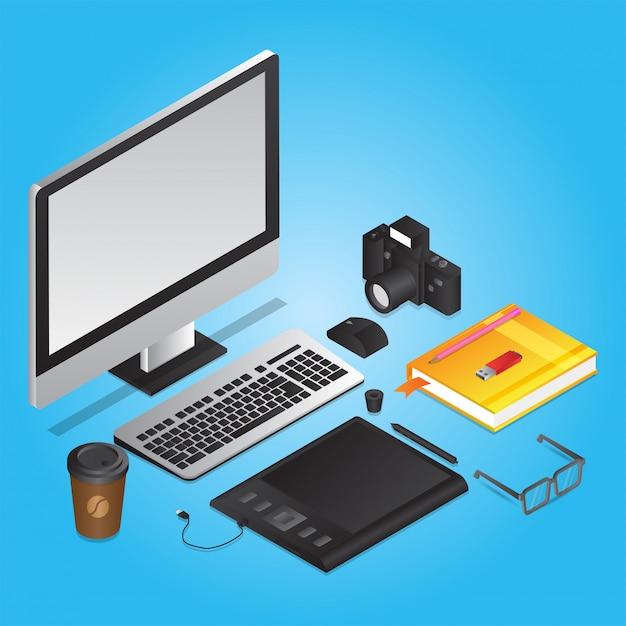 Outils De Graphisme Comme Ordinateur Avec Tablette Graphique Vecteur Premium