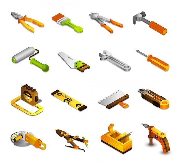 Outils icônes isométriques Vecteur gratuit